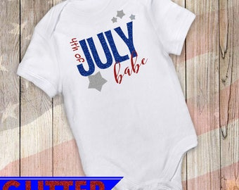 4th of July Babe Glittery T-Shirt / Infant Bodysuit / Toddler T-Shirt / Patriotic / Fourth of July Tshirt