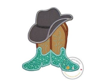 ON SALE NOW Cowboy hat with brown and tan boots- western fabric applique- farm boy- iron on patch-ready to ship pre-made