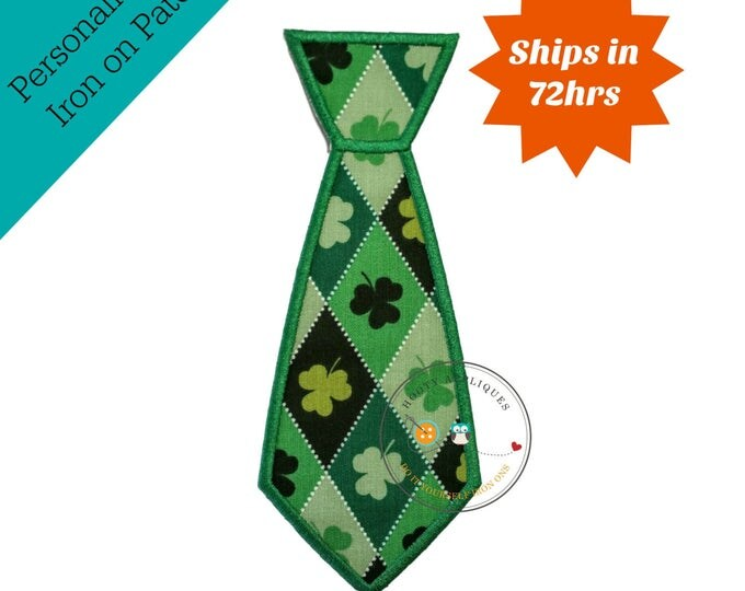 First St. Patrick's day iron on fabric applique for boys, Embroidered iron on St. Patty's day patch, Personalized lucky iron on applique