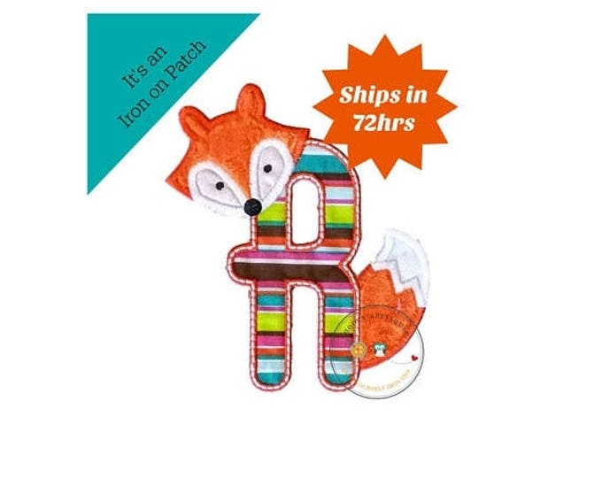 ON SALE NOW Woodland fox letter R machine embroidered iron on no sew patch, fox embroidered monogram letter r, ready to ship
