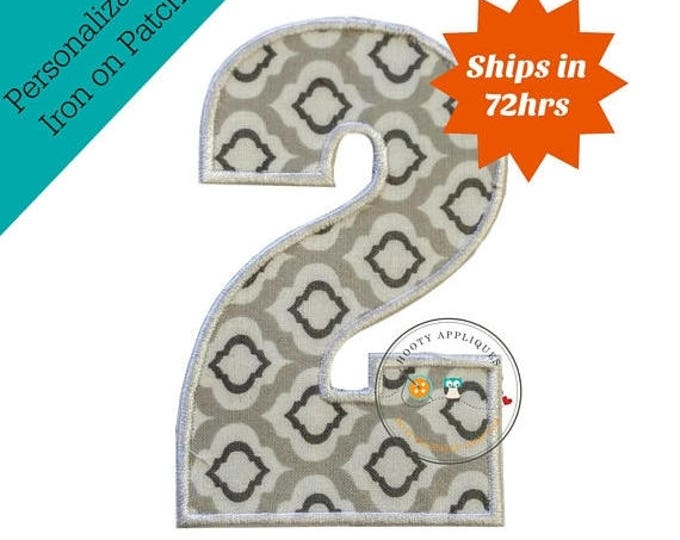 ON SALE NOW Large gray and white number 2- iron embroidered fabric applique patch embellishment- ready to ship