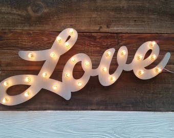Wood Love Marquee Lighted Sign Custom Personalized... LOVE Play Eat BBQ Open Bar Dream Custom.. Wedding Gift Anniversary Vendor Restaurant