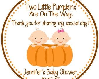 Pumpkin Baby Shower Favor Tags - Twin Pumpkin Baby Shower Favors - Twin Baby Shower Pumpkins