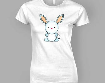 Cute Bunny Rabbit T-Shirt (Womens Fitted)