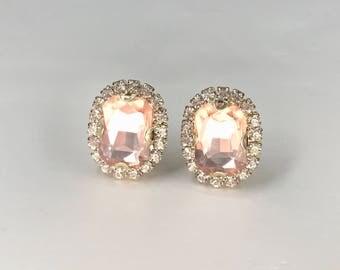 Rose Gold Earrings, Blush Stud Earrings  Rose Gold Clip ons, Rose Gold Bridal Earrings, Blush Wedding Earrings, Rose Gold Studs