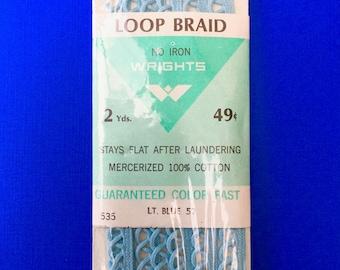 Super Pretty Vintage Sky Blue Loop Braid Trim in Original Package by Wright & Sons