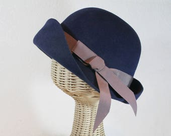 Cloche Hat in Navy Velour Felt ~ Lady Mary ~ Downton Abbey, classic, rain hat ~ handmade by Bonnet, your local Portland millinery