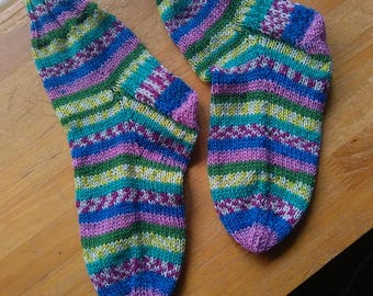 Hand knitted rainbow flower meadow socks size 3to4 or 36 to 37