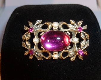 Hot Pink Brooch with Pearl accents.