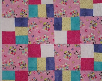 Pink Minnie Mouse and Daisy Duck Quilt