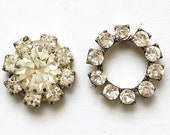 craft lot destash of vintage colorless rhinestone salvaged earring jewelry components for repurposing--two styles--lot of 4