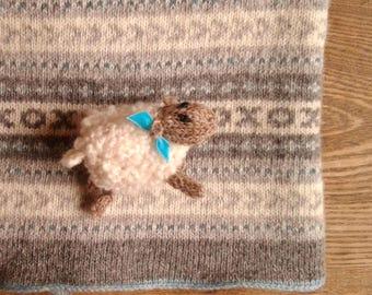 Fair Isle Knitted Wool Baby Blanket