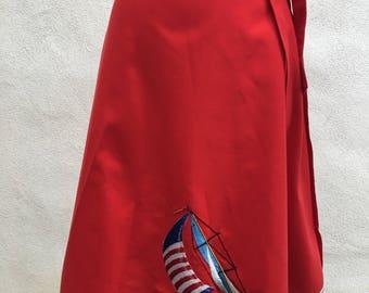 Vintage red wrap skirt nautical ship theme by Shirley Gadol Co sz L