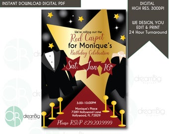 Red Carpet Birthday Invitations, Red Carpet Invitations, Hollywood Party,  Red Carpet Invites,