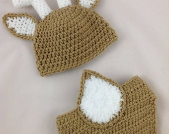 Baby Deer Outfit - Baby Deer Hat - Baby Deer Nursery - Woodland Baby Shower - Newborn Deer Outfit - Crochet Deer Hat - Deer Baby Shower