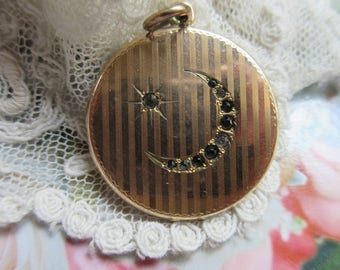 Antique Crescent Moon and Star Locket with Paste Accents - Romantic Victorian Symbolism - You Are The Only Star In My Sky - Gold Fill Locket