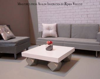 1:6 scale Coffee Table Barbie furniture ~ Solid wood hand built white with metallic silver base. Hollywood Regency Modern