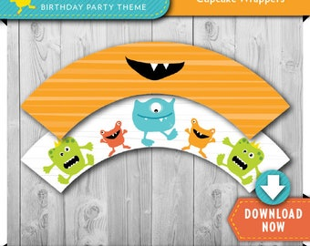 Monster Cupcake Wrappers, Printable Party Circles for Monster Cupcakes, Boys Monster Party Decorations, Monster Birthday Party Printables