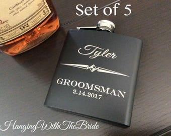 Set of 5 Personalized Flask Groomsmen Gift Box - Groomsmen Flask Set - Gifts for Groomsmen - Monogram Flask - Custom Flask Set for Groomsmen