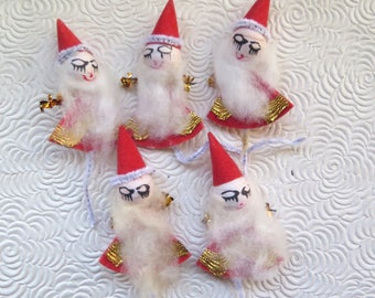 Spun Cotton Santa Claus Pics Christmas Crafts Gold Trim Set of Five Pipe Cleaner Mid Century Made in Japan Retro Unused Original Package