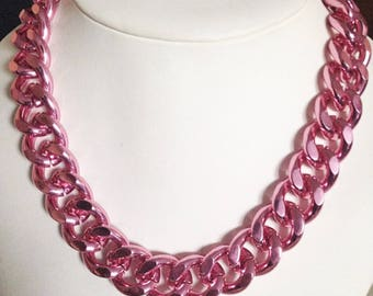 Chunky Pink Necklace, Pink Jewelry, Chunky Pink Jewelry