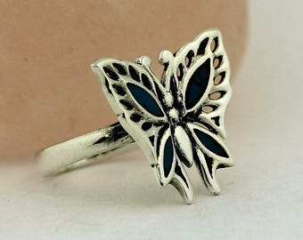 Artisan Turquoise Ring // 925 Sterling Silver // Ring Size 7.5 Handmade Jewelry