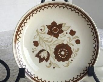 Wedding Sale Vintage Ironstone Nutmeg Pattern Ceramic Bread Plates by Royal China