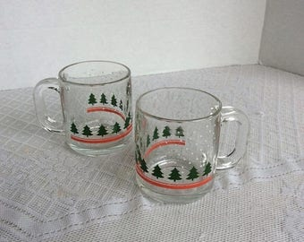 CIJ Christmas Tree Drinking Glass Mugs / Vintage Christmas Glass Coffee Cups by Libbey