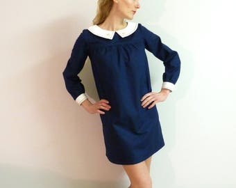 Navy blue cotton dress