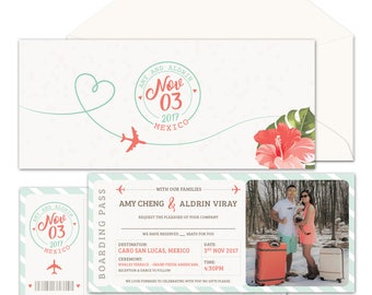 Destination Wedding Invitation Suite {Boarding Pass to 'I Do' - Coral/Mint}