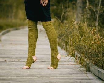 Yoga socks spats / dance socks / leg warmers / boot socks Green knit comfortable warm colorful Accessories Women Clothing Yoga gift legwear