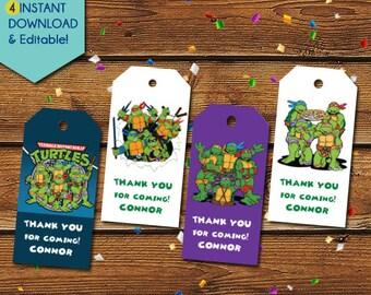 Ninja Turtles Thank You Tags, Teenage Mutant Ninja Turtles Party Favors, Ninja Turtles Birthday Tags, TMNT Favor Tags, Gift Tags, TMNT Tags