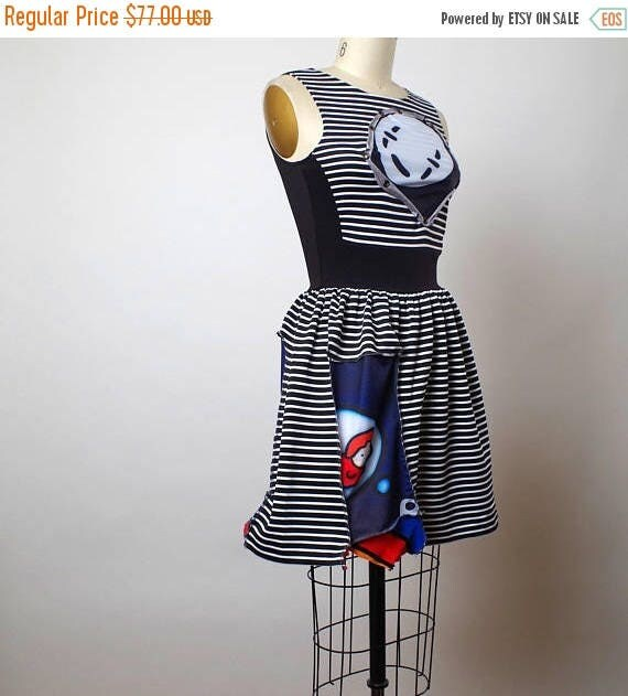 ON SALE Striped Summer Dress - Funky Summer Dress - Comic Book Dress - Eco-friendly Clothing - Funky
