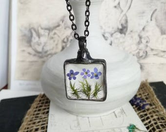 Forget Me Not Flower, Forget-Me-Not Pendant, Forget-Me-Not Necklace, Flower Jewellery, Blue flower Bridesmaid Gifts