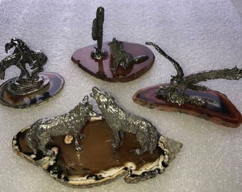 Pewter on Brazilian Agate Eagle Wolves End of the Trail and Coyote 4 pc set
