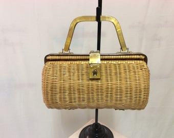Wicker Barrel Purse Faux Mother of Pearl Frame and Handle