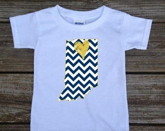 SALE Indiana Love Navy Gold Baby Toddler Children Kids Boy Girl T-shirt or Bodysuit - Your Choice of Any State and Colors