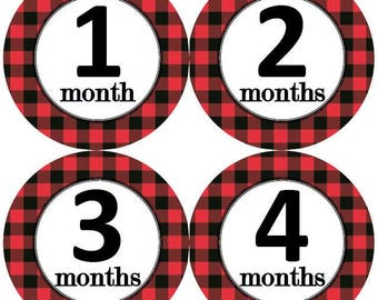Baby Monthly Milestone Growth Stickers Red Black Buffalo Plaid Rustic Outdoor Lumberjack Nursery Theme MS953 Baby Shower Gift Photo Props