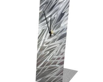 Modern Table Clock 'Silver Zig Zag Desk Clock' by Nate Halley - Original Contemporary Clock Minimalist Decor on Natural Aluminum
