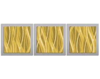 Golden Wall Art 'Gold Essence' - 38x12 in. -Metal Artwork, Contemporary Decor - Modern Metal Painting