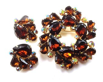 Garne Madeira Rhinestone Demi Brooch Earrings Matched Set Designer Signed Collectible Vintage Jewelry Set