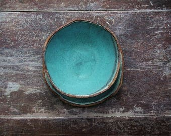 Ceramic stoneware bowl and tea plate set in turquoise / copper patina satin glaze. Ideal gift. Soup bowl.