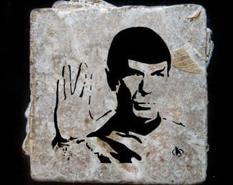 Spock coaster set. **Ask for free gift wrapping and have them sent directly to the recipient!**