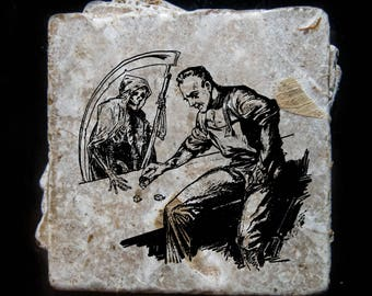 Gambling with death etching coaster set. **Ask for free gift wrapping and have them sent directly to the recipient!**