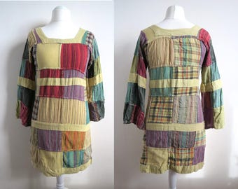 Vintage Patchwork Tunic, Long Sleeve Dress, Chartreuse Green, Purple, Teal, Multicolor Boho Blouse, Medium M