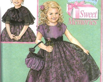 ON SALE Daisy Kingdom Simplicity 4448 Girls Dress, Capelet And Purse Pattern Size 5-8, UNCUT