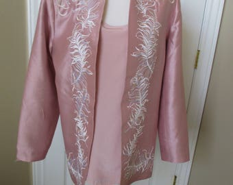 Nolan Miller, Long Sleeve SILK Blazer and Sleeveless Camisole Ensemble, Jacket size M Camisole size L embroidered and beaded Gorgeous!!!
