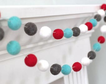 Red Blue Charcoal White Christmas Garland Felt Ball Garland- Christmas Holiday Decor