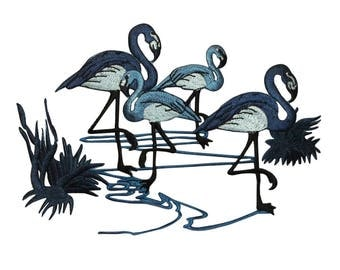 ID 0513 Flamingos Standing In Water Patch Bird Embroidered Iron On Applique