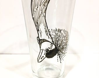 Hand Painted Animal Pint Glasses - Crowned Crane